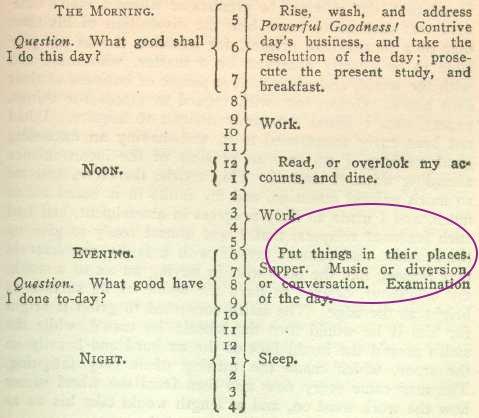 Organisation et rangement dans le planning journalier de Benjamin Franklin