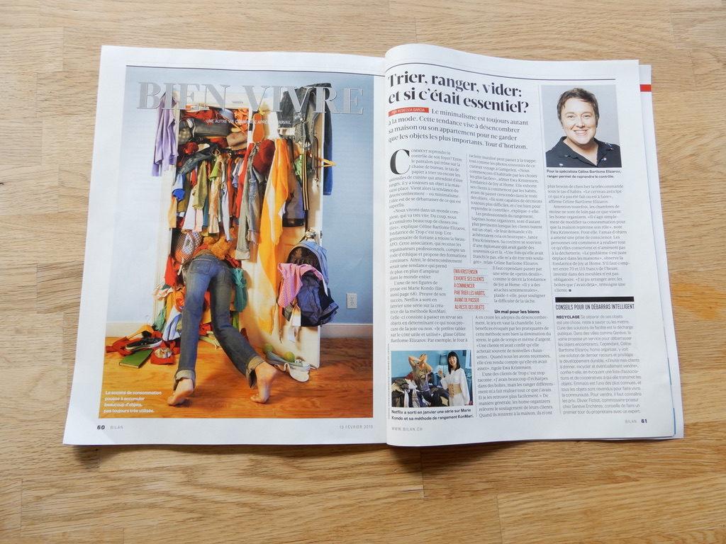 """Ewa Kristensen, fondatrice de Joy at Home dans le dossier """"Bien-Vivre"""" du magazine suisse Bilan, 13 février 2019"""